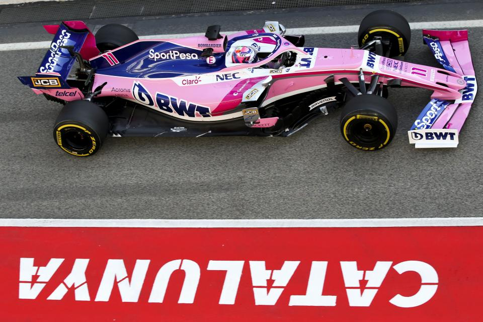 Sergio Perez testing the SportPesa Racing Point RP19 at the Circuit de Barcelona Catalunya, Spain
