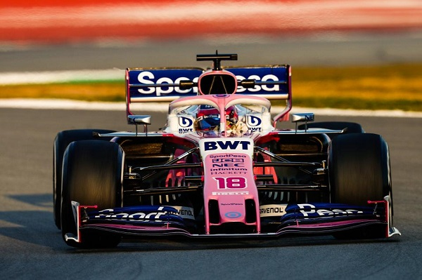 Lance Stroll testing the SportPesa Racing Point RP19 F1 car on the 4th day of F1 testing