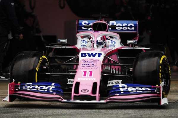 Sergio Perez testing the SportPesa Racing Point RP19 F1 car on day 3 of F1 testing
