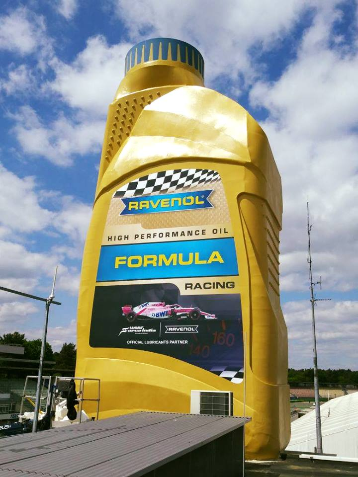 ravenol giant oil can at hockenheim circuit with new force india formula one label