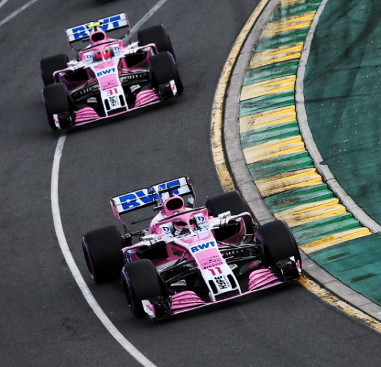 force india vjm11 cars pink panthers at melbourne street circuit australia