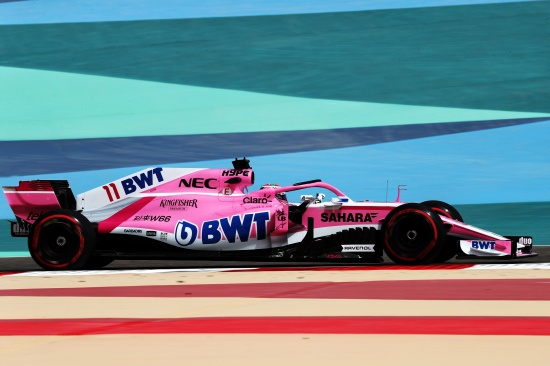 force india vjm11 pink panther on track at bahrain sakhir circuit