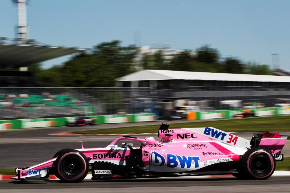 Force India Sergio Perez at Circuit Gilles Veilleneuve in Montreal Canada