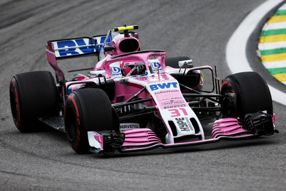 Esteban Ocon cornering at the Brazilian Grand Prix