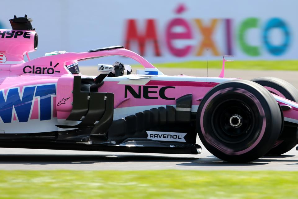 Sergio Perez was forced to retire from the Mexican Grand Prix with a brake pedal issue