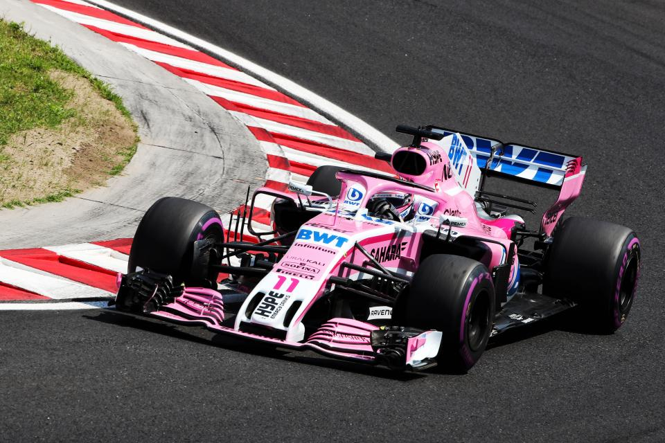 Sergio Perez in the Force India VJM11 Pink Panther at Hungaroring
