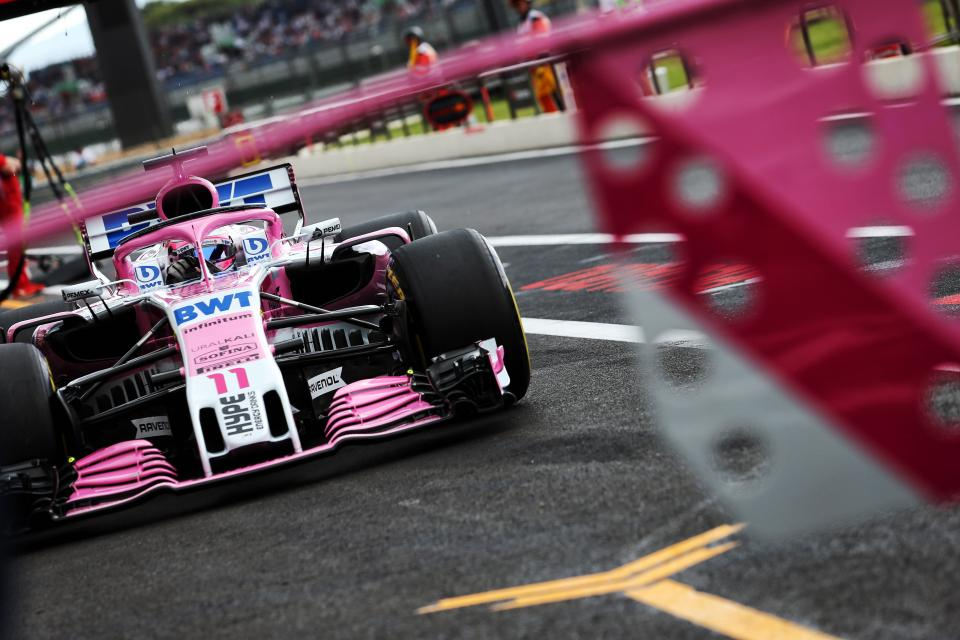 Sergio Perez comes into the pits in French Grand Prix