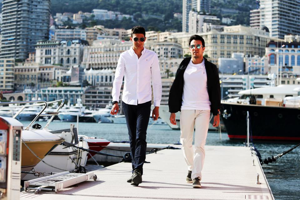 Sergio Perez and Esteban Ocon enjoying the sunshine in Port Hercules, Monaco