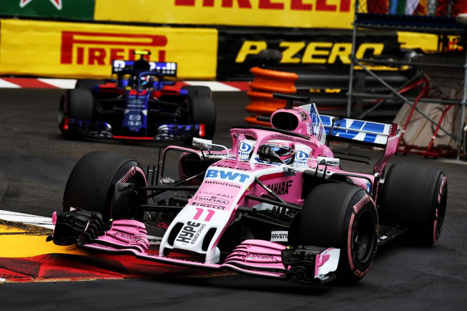 Sergio Perez ahead of Brendon Hartley at the Monaco Grand Prix Nouvelle Chicane